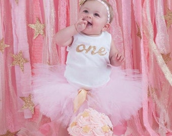 Pink and Gold 1st Birthday Dress Tutu Outfit for Baby Girls, One Top