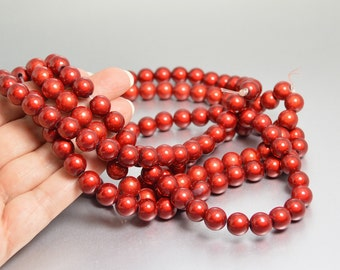 Iridescent Beads, 10mm Red Beads, Miracle Beads, Christmas Beads, Round Red Beads in 10mm Iridescent Acrylic Beads