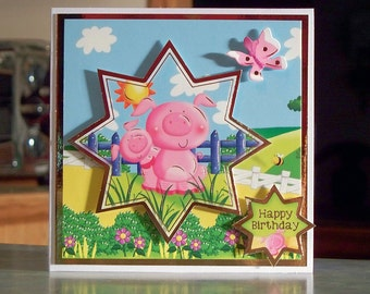"""Handmade Happy Birthday Card for Children - 5"""" x 5"""" - Adorable Pigs in Star Shape with Gold Foil Detailing - OOAK"""