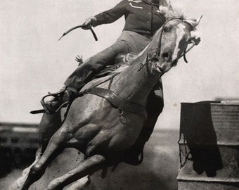 vintage mid century texan rodeo girl illustration photograph