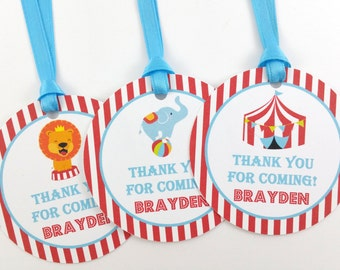 Circus Party Favor Tags, Circus Birthday Favor Tags, Circus Tags, Circus Party Decorations - SET OF 12