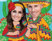 Mexican Fiesta Invitation for 2 people - Engagement Party - Rehearsal Dinner - Personalized with your photo DIGITAL FILE