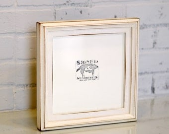 8x8 inch Square Picture Frame in 1x1 Double Cove Build Up Style with Vintage White Finish - Can Be Any Color - 8x8 Rustic White Photo Frame