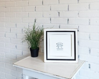 8x8 Square Picture Frame with Vintage White Finish in Vintage Black Cooper Build Up Style - Can Be Any Color Combination - 8x8 Photo Frame