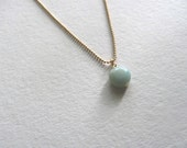 Single aqua blue amazonite stone necklace on delicate 14k gold plated ball chain, simple gemstone necklace