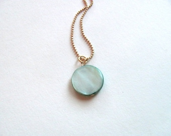 Teal circle shell bead on 14k gold plate chain, geometric minimalist necklace, green necklace, bridesmaid jewelry