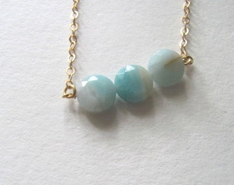 Aqua blue amazonite stone necklace on delicate 14k gold plated chain, gemstone, three beads