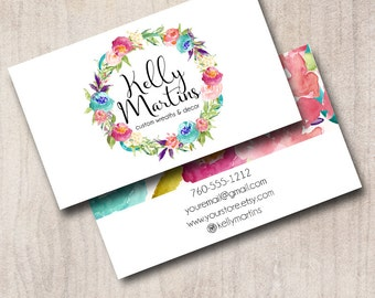 Watercolor Wreath Business Card, 2 Sided Calling Card, Boutique Business Card, Made to Match Designs Available