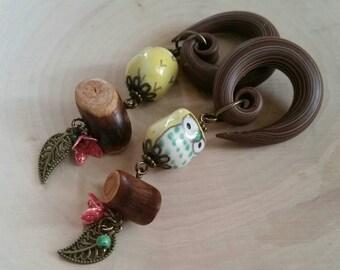 Yellow Owl Drop Gauged Earring Plugs with Rustic Mini Logs & Vintage Metal Flowers LAST SET