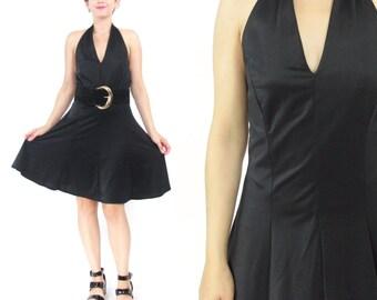 Vintage Black Halter Dress Black Mini Dress Full Skirt Dress Black Skater Skirt Dress Spandex Party Dress Marilyn Monroe Pinup Dress (S/M)