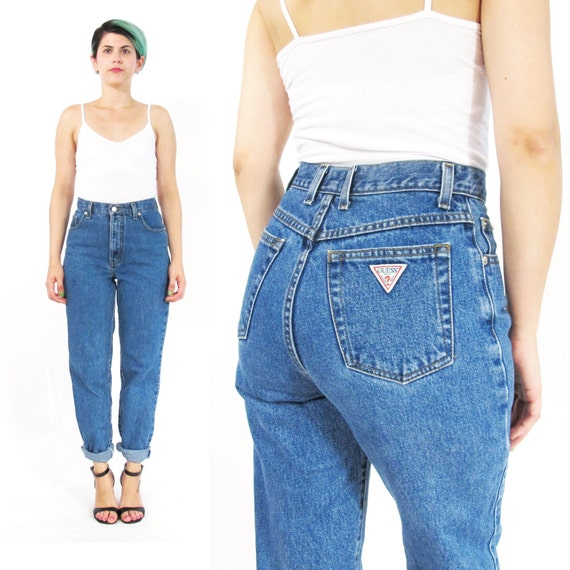 90s guess mom jeans high waist jeans tapered leg jeans slim. Black Bedroom Furniture Sets. Home Design Ideas