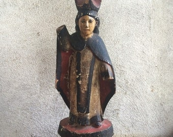 Antique saint statue St. Teresa religious relics from Ecuador carved santos Catholic gifts
