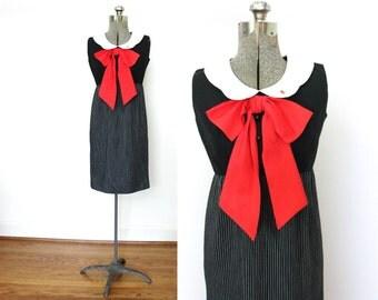 60s Dress / 1960s Dress / 60s Mod Big Red Bow Dress