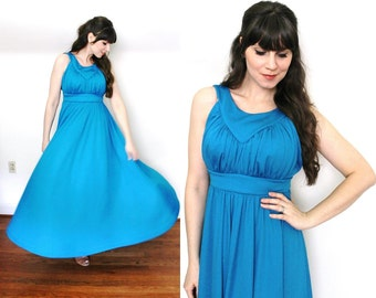 1970s Maxi Dress / 70s Azure Blue Grecian Halter Maxi Bridemaid Dress