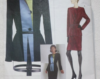 Size 8-10-12 Vintage 90s Vogue Designer Sewing Pattern 2045 Geoffrey Beene  Jacket and Skirt