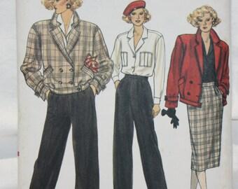 "Vintage 1985 sz 6-8-10  Vogue Sewing Pattern 9424 Jacket, Skirt, Pants and Shirt Bust 30.5""-32.5"""