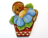 Ginger in Flower Pot Ornament or Fridge Magnet, Handpainted Wood Gingerbread