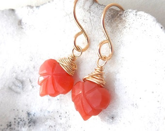 Dainty Peach Moonstone & Yellow Gold Filled Leaf Earrings