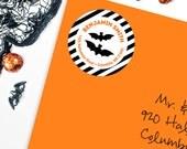 Halloween Address Labels / Black Bats Address Labels - Sheet of 24