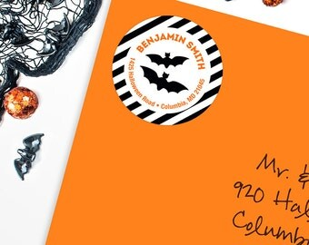 Halloween Address Labels / Black Bats Address Labels - Sheet of 24