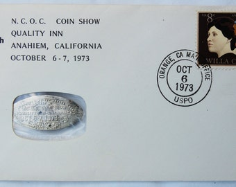 FDC with Elongated 1916 Silver Mercury Dime - First Day Cover - N.C.O.C. Coin Show 1973 - Anaheim, CA - Willa Cather