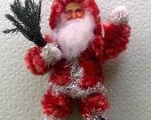 Vintage Look Santa Ornament-Spun Cotton,Vintage Chenille Roping,German Tinsel,German Scrap,Air Fern Tree