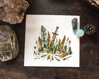 Crystal Shard and Sword - original watercolor painting