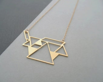 tangram necklace, gold tangram necklace, geometric jewelry