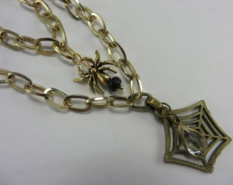 Spider Web Necklace Two Strand Vintage Chain Halloween Fun Free Shipping