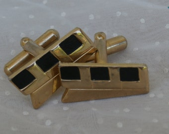 Black and Gold Toned Metal, Deco Style Cufflinks LLL, Vintage for Him