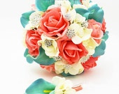 Coral Ivory Aqua Bridal Bouquet Rhinestone Brooches Wedding Bouquet Groom Boutonniere - Customize For Your Colors - Coral Ivory Aqua Blue