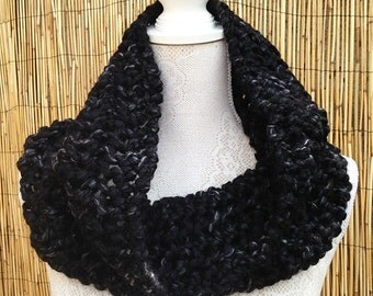 SALE - Hand Knit Scarf in Granite, Super Chunky Infinity Scarf, Hand Knitted Scarf, Super Chunky Cowl