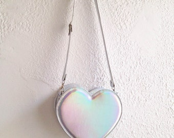Holographic Heart Faux Leather Crossbody Bag (Ready to ship)