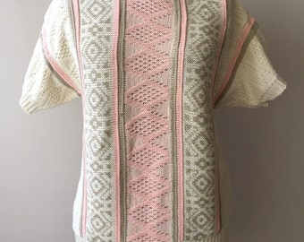 Vintage 1980s Pastel Geometric Knit Sweater