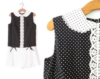 60s Mini Dress * Vintage 1960s Dress *  Polka Dot Dress * Large