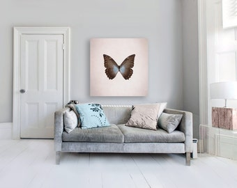 Butterfly Print on Canvas, Beige, Purple, Brown, Large Canvas Art, Girl Nursery Decor, Blue Morpho Butterfly