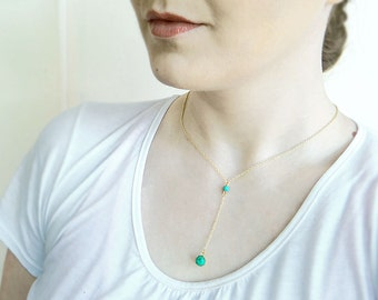 Y Necklace Gold, Turquoise Necklace Gold Lariat, Turquoise Drop Necklace