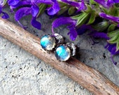 Blue Lightning ~ Sterling Silver 5mm Handcrafted Earrings featuring fiery blue Labradorite - Post Earrings - Stud Earrings  Boho