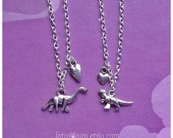 Friendship necklaces, Dinosaur and hearts, best friends, cute, friendship,