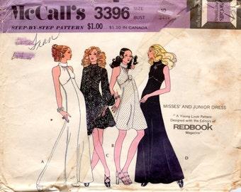 1970s High Neck Mini Maxi Dress - McCall's 3396 Vintage Pattern - B32 Keyhole Roll Collar