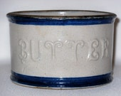 Antique Blue And White Stoneware Embossed Butter Crock