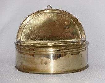 Antique Brass Match Box Half Round Shape Ridged Details Hinged Lid