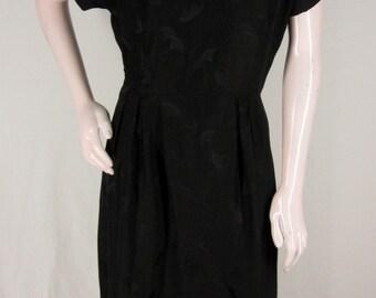 Vintage Black Silk Dress L Fan Jacquard Motif Short Sleeve