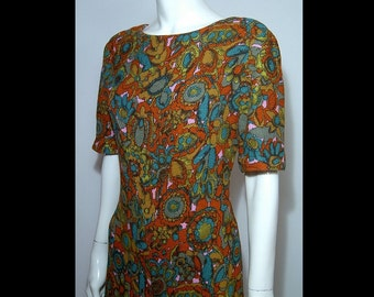 1960s psychedelic acrylic satin lined wool dress ~ Small / Medium ~ flirty skirt ~ rich colourful swinging 60s ~ teal blue sage forest green