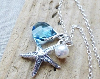 Starfish Charm Necklace, Sterling Starfish, White Pearl, Aquamarine Blue Swarovski Crystal Charm Necklace, Beach Jewelry, Ocean Blue