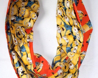 Dreamworks Minions Infinity Scarf,Your Choice of Minions on Orange or Yellow Minions Crowd Fabric, Handmade Clothing Acces.,Fun Unique