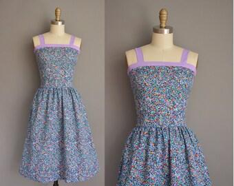 vintage 1970s dress/70s dress floral dress / 1970s sun dress