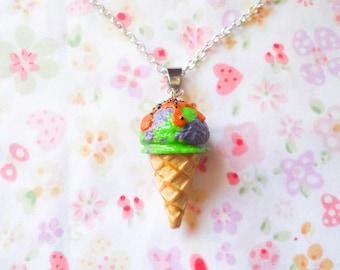 Halloween Ice Cream Necklace, Ice Cream Cone, Ice Cream, Halloween, Kawaii, Goth, Gothic, Food Necklace, Dessert, Polymer Clay, Pendant