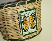 Woven Basket with Ceramic Butterfly Designs on handle and side Large vintage Flower Monarch Tile and Bead Basket Natural and Green Color Wow