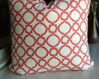Waverly's  Kent Crossing Coral and Cream Toss Pillow with Turkish Corners